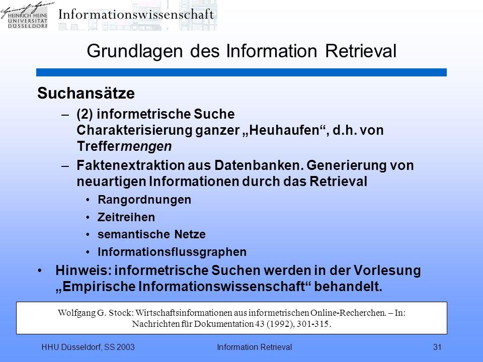 """HHU Düsseldorf, SS 2003Information Retrieval31 Grundlagen des Information Retrieval Suchansätze –(2) informetrische Suche Charakterisierung ganzer """"Heuhaufen , d.h."""