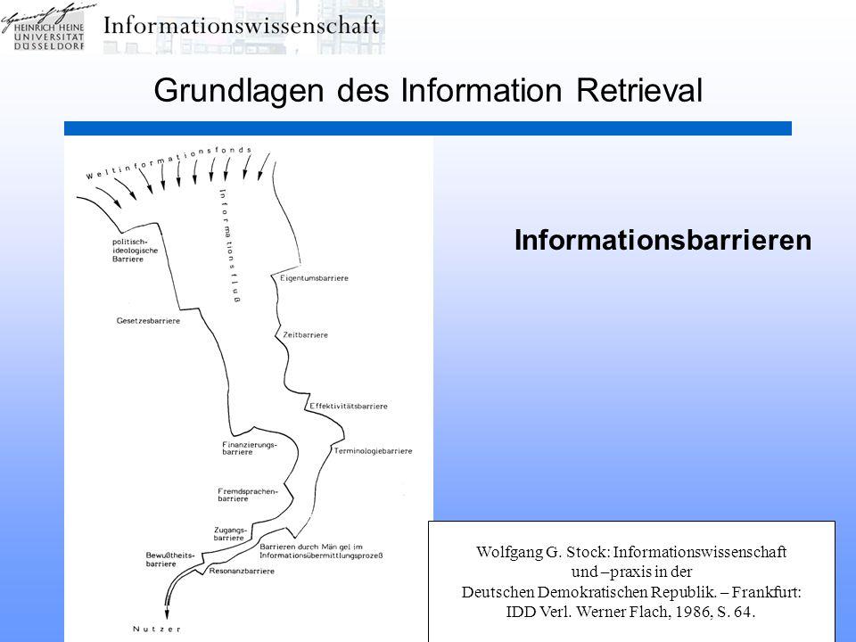 HHU Düsseldorf, SS 2003Information Retrieval34 Grundlagen des Information Retrieval Informationsbarrieren Wolfgang G.