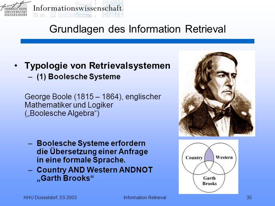 """HHU Düsseldorf, SS 2003Information Retrieval35 Grundlagen des Information Retrieval Typologie von Retrievalsystemen –(1) Boolesche Systeme George Boole (1815 – 1864), englischer Mathematiker und Logiker (""""Boolesche Algebra ) –Boolesche Systeme erfordern die Übersetzung einer Anfrage in eine formale Sprache."""