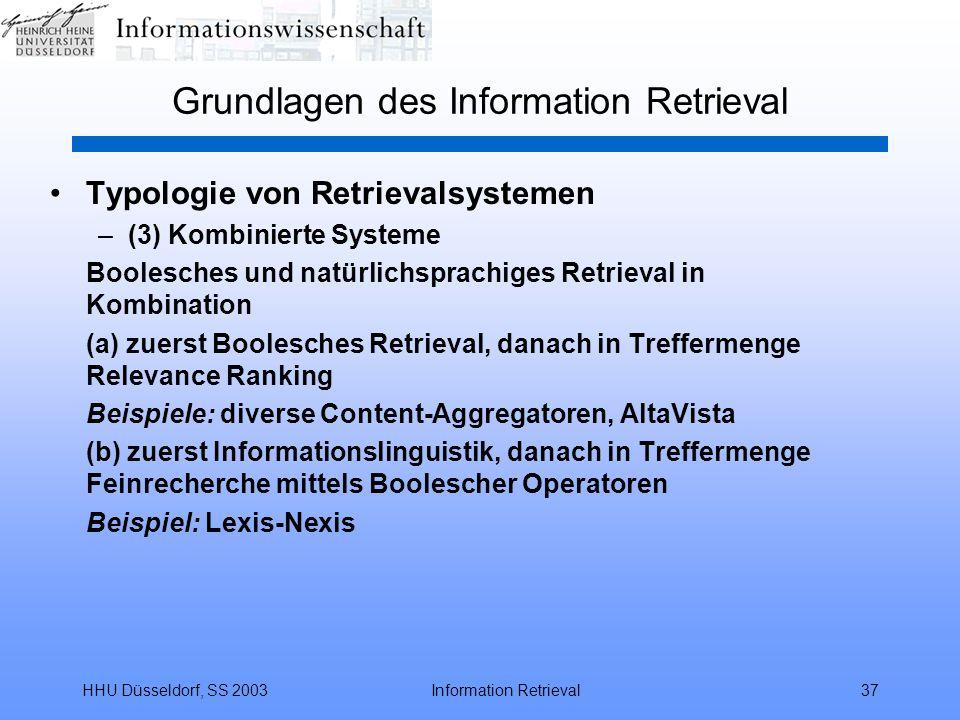 HHU Düsseldorf, SS 2003Information Retrieval37 Grundlagen des Information Retrieval Typologie von Retrievalsystemen –(3) Kombinierte Systeme Boolesche