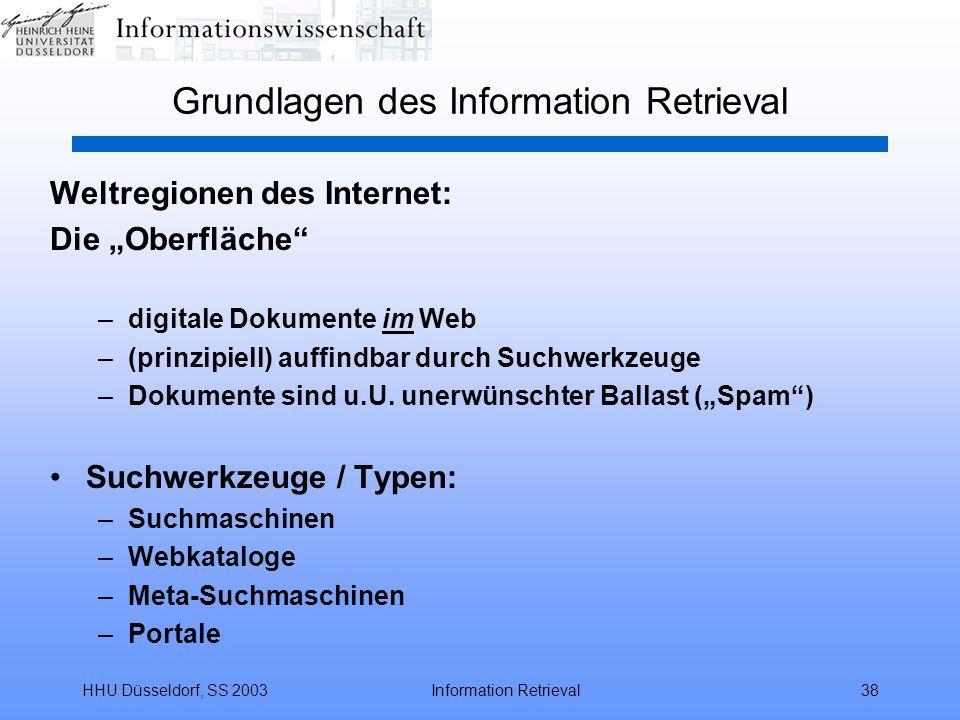 "HHU Düsseldorf, SS 2003Information Retrieval38 Grundlagen des Information Retrieval Weltregionen des Internet: Die ""Oberfläche"" –digitale Dokumente im"