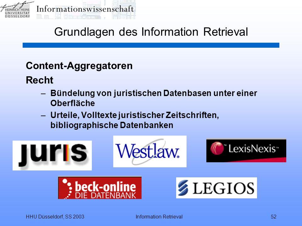 HHU Düsseldorf, SS 2003Information Retrieval52 Grundlagen des Information Retrieval Content-Aggregatoren Recht –Bündelung von juristischen Datenbasen