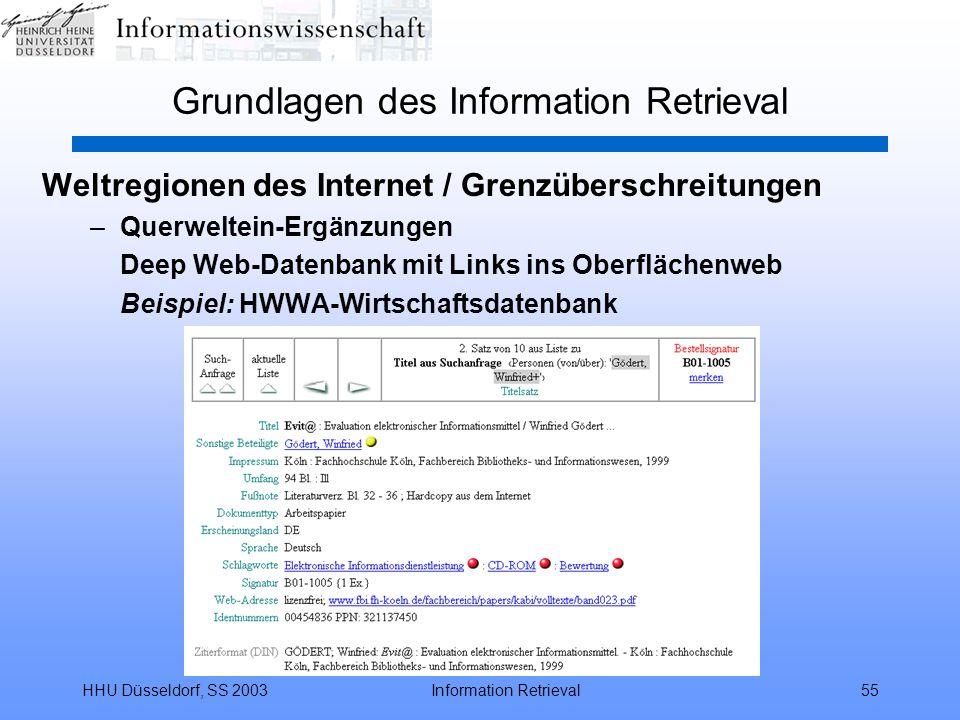 HHU Düsseldorf, SS 2003Information Retrieval55 Grundlagen des Information Retrieval Weltregionen des Internet / Grenzüberschreitungen –Querweltein-Erg
