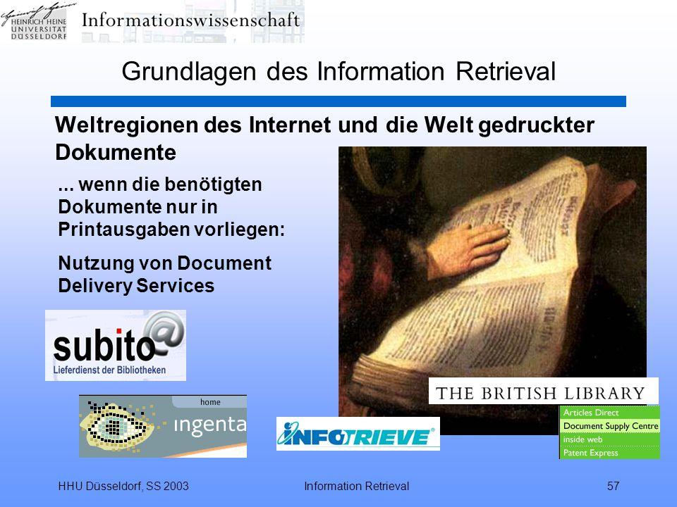 HHU Düsseldorf, SS 2003Information Retrieval57 Grundlagen des Information Retrieval Weltregionen des Internet und die Welt gedruckter Dokumente... wen