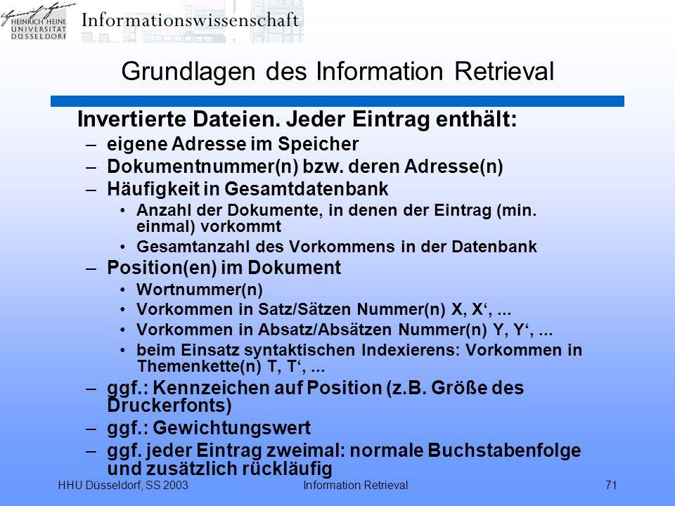 HHU Düsseldorf, SS 2003Information Retrieval71 Grundlagen des Information Retrieval Invertierte Dateien. Jeder Eintrag enthält: –eigene Adresse im Spe