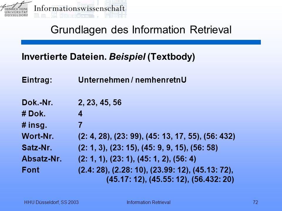 HHU Düsseldorf, SS 2003Information Retrieval72 Grundlagen des Information Retrieval Invertierte Dateien. Beispiel (Textbody) Eintrag:Unternehmen / nem