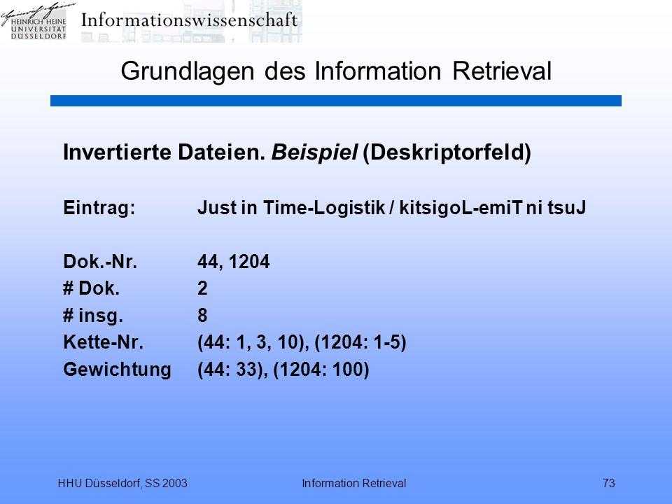HHU Düsseldorf, SS 2003Information Retrieval73 Grundlagen des Information Retrieval Invertierte Dateien. Beispiel (Deskriptorfeld) Eintrag:Just in Tim