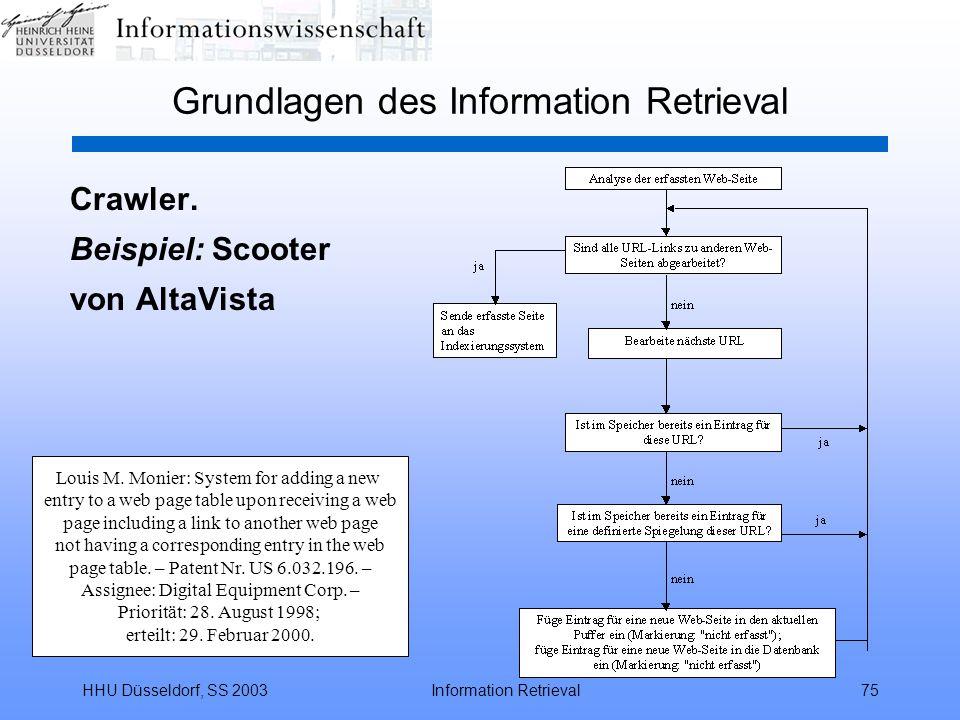 HHU Düsseldorf, SS 2003Information Retrieval75 Grundlagen des Information Retrieval Crawler.