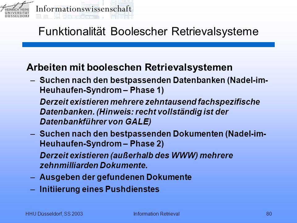 HHU Düsseldorf, SS 2003Information Retrieval80 Funktionalität Boolescher Retrievalsysteme Arbeiten mit booleschen Retrievalsystemen –Suchen nach den bestpassenden Datenbanken (Nadel-im- Heuhaufen-Syndrom – Phase 1) Derzeit existieren mehrere zehntausend fachspezifische Datenbanken.