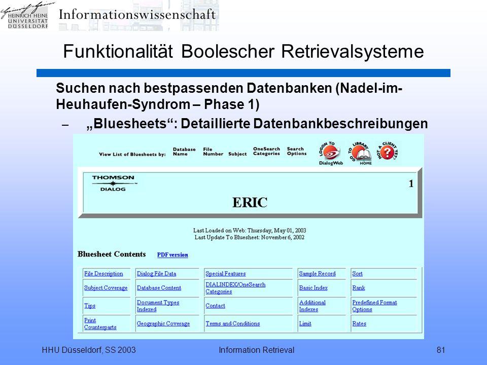 """HHU Düsseldorf, SS 2003Information Retrieval81 Funktionalität Boolescher Retrievalsysteme Suchen nach bestpassenden Datenbanken (Nadel-im- Heuhaufen-Syndrom – Phase 1) – """"Bluesheets : Detaillierte Datenbankbeschreibungen"""