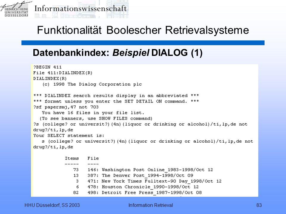 HHU Düsseldorf, SS 2003Information Retrieval83 Funktionalität Boolescher Retrievalsysteme Datenbankindex: Beispiel DIALOG (1)