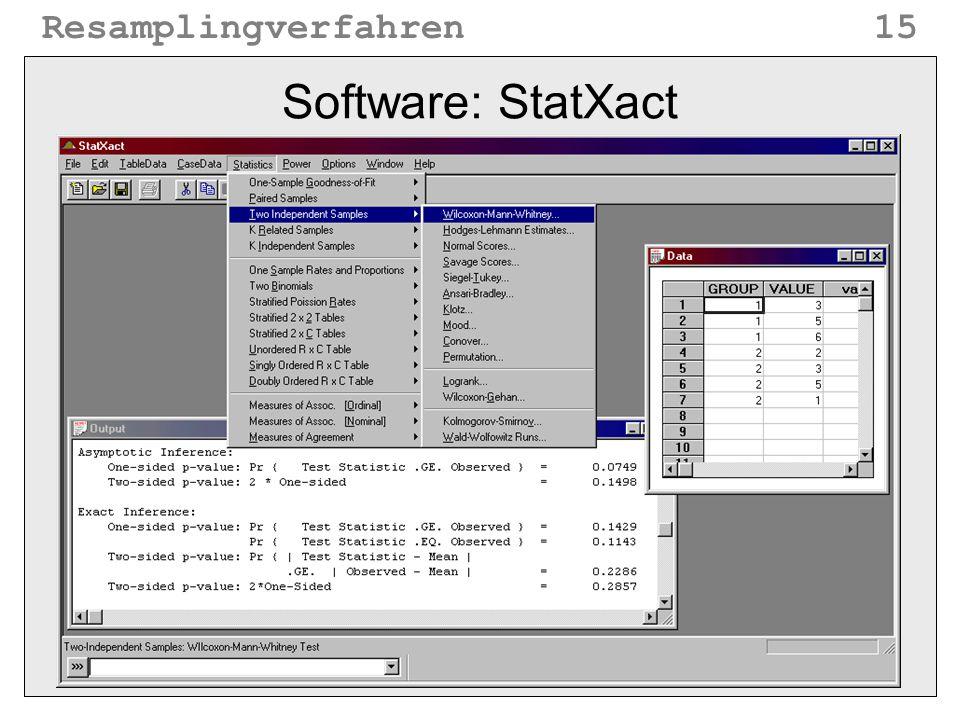 Resamplingverfahren15 Software: StatXact