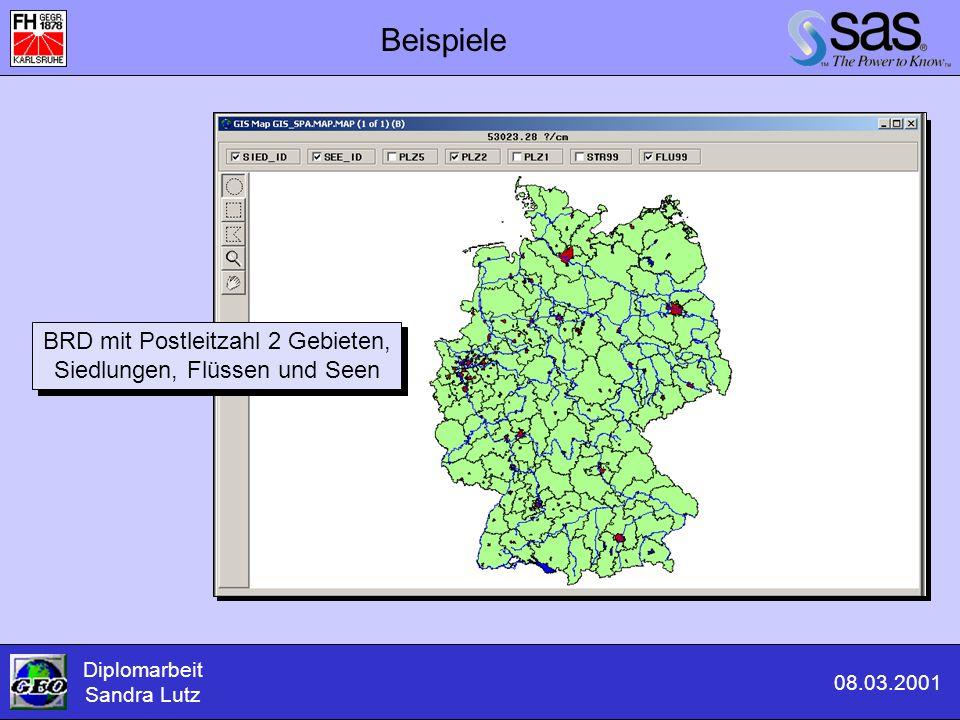 Beispiele Diplomarbeit Sandra Lutz 08.03.2001 BRD mit Postleitzahl 2 Gebieten, Siedlungen, Flüssen und Seen