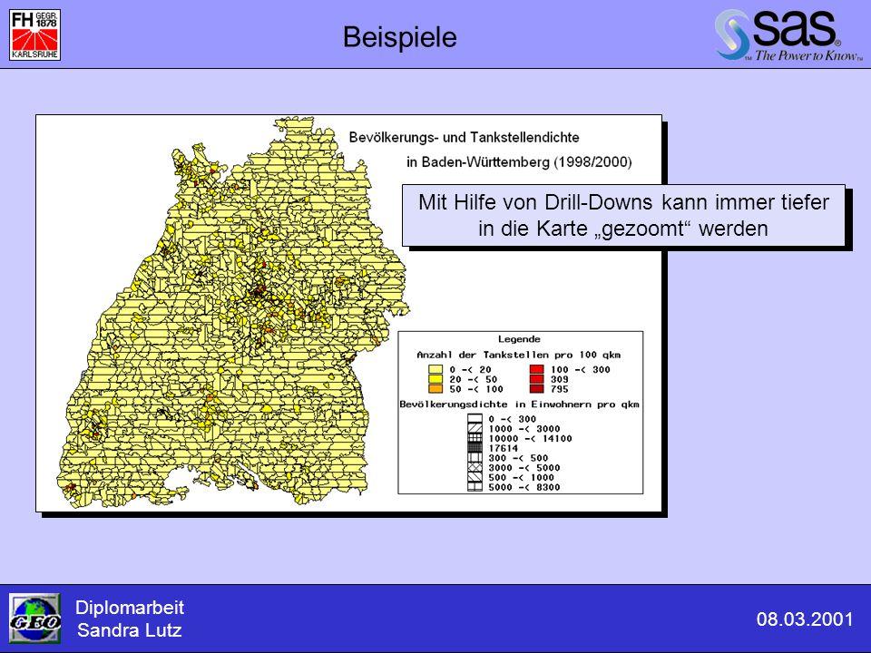 """Beispiele Diplomarbeit Sandra Lutz 08.03.2001 Mit Hilfe von Drill-Downs kann immer tiefer in die Karte """"gezoomt"""" werden"""