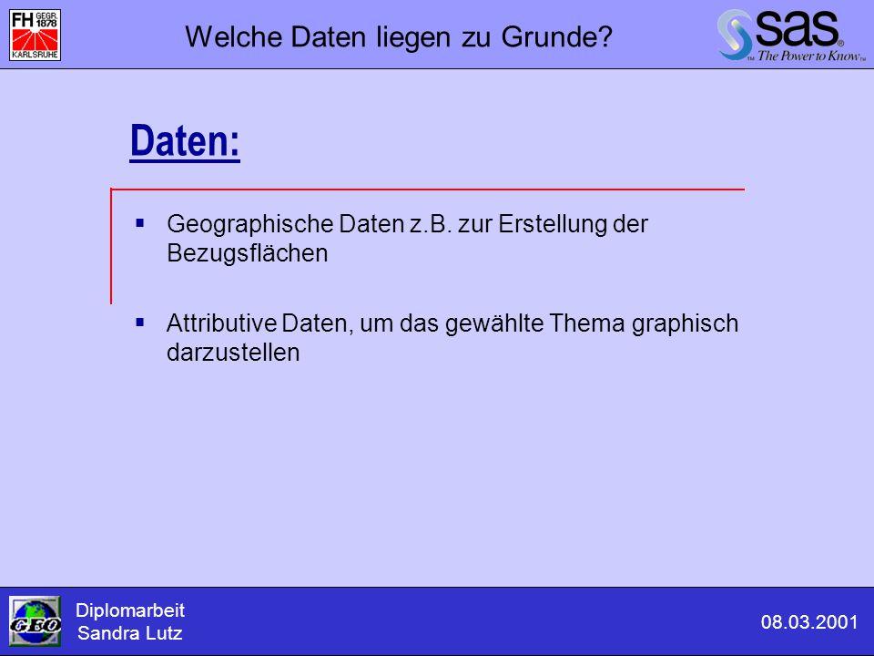  Geographische Daten z.B. zur Erstellung der Bezugsflächen  Attributive Daten, um das gewählte Thema graphisch darzustellen Diplomarbeit Sandra Lutz