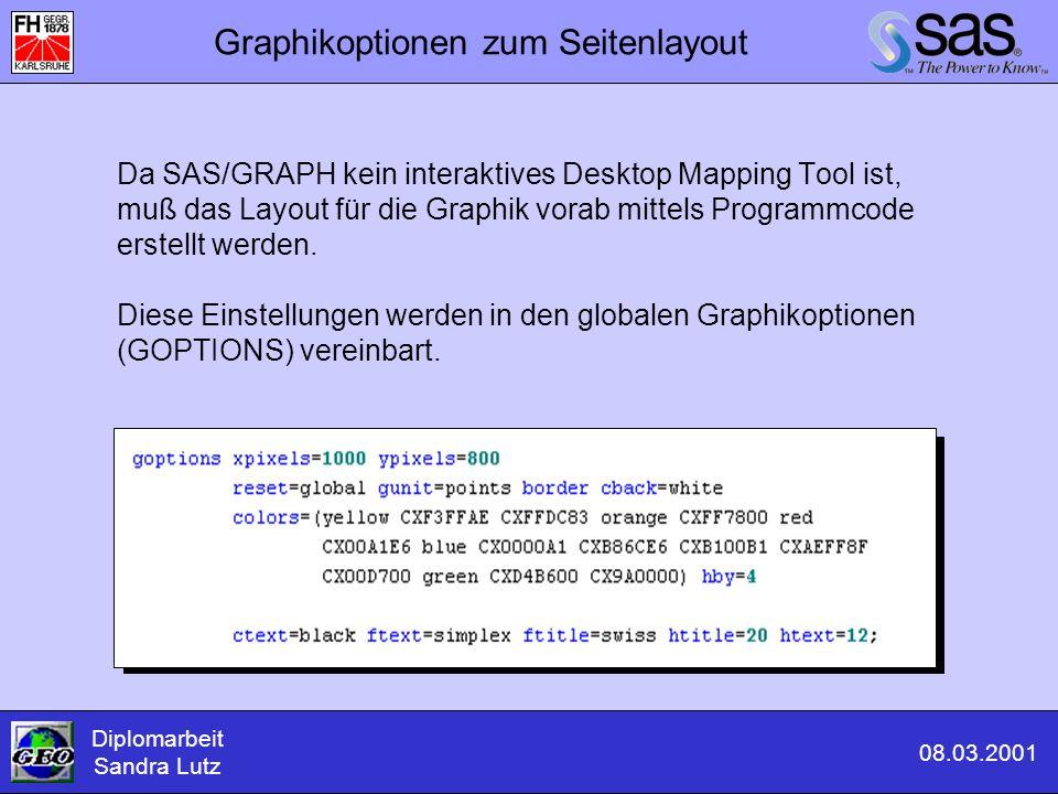 Graphikoptionen zum Seitenlayout Da SAS/GRAPH kein interaktives Desktop Mapping Tool ist, muß das Layout für die Graphik vorab mittels Programmcode er