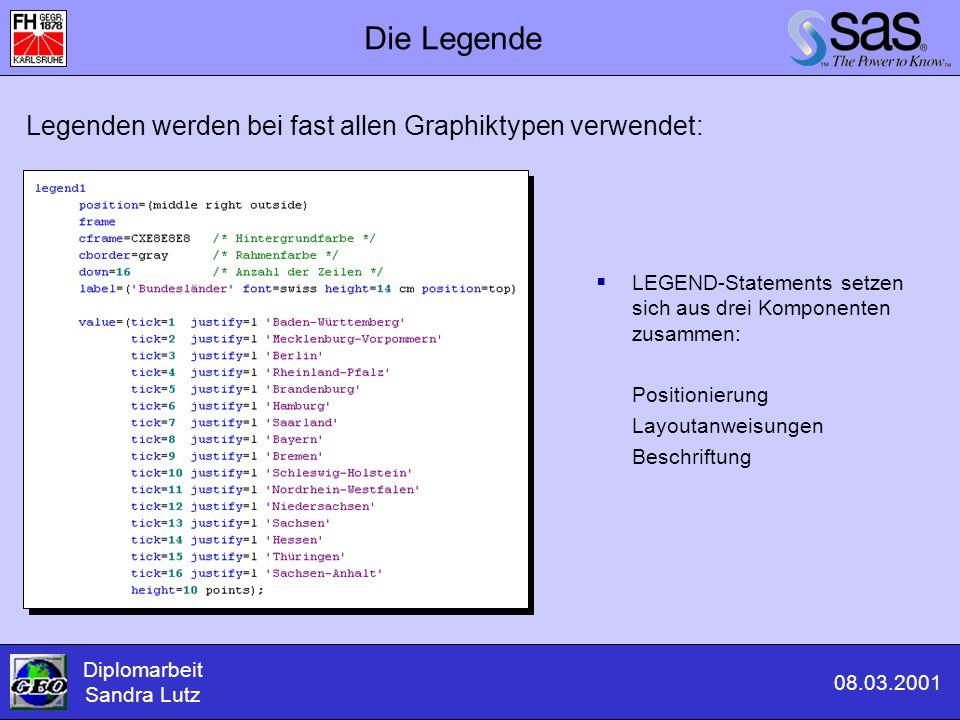 Die Legende  LEGEND-Statements setzen sich aus drei Komponenten zusammen: Positionierung Layoutanweisungen Beschriftung Diplomarbeit Sandra Lutz 08.0