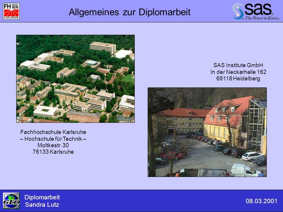 Titel- und Fußzeile Eingabe des Kartentitels und der Fußzeile Diplomarbeit Sandra Lutz 08.03.2001