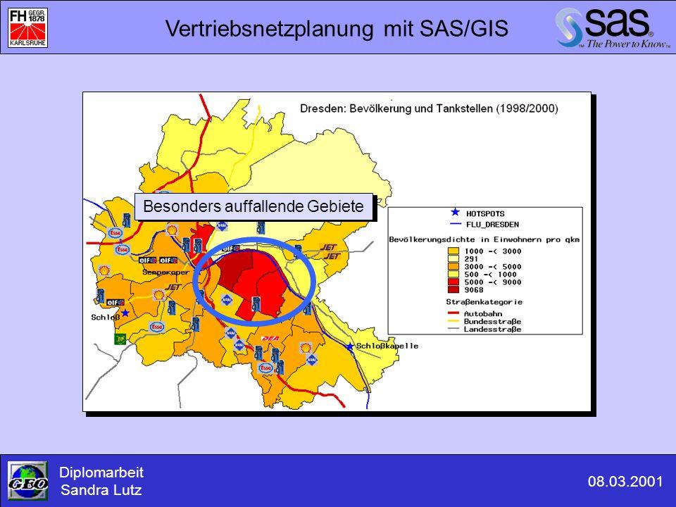 Vertriebsnetzplanung mit SAS/GIS Diplomarbeit Sandra Lutz 08.03.2001 Besonders auffallende Gebiete