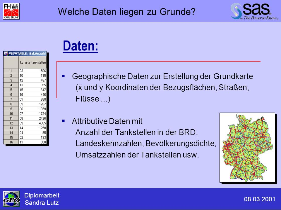 Diplomarbeit Sandra Lutz 08.03.2001 Welche Daten liegen zu Grunde?  Geographische Daten zur Erstellung der Grundkarte (x und y Koordinaten der Bezugs