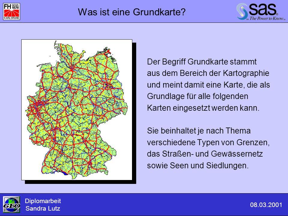 Zusammenwirken der Daten Diplomarbeit Sandra Lutz 08.03.2001 Geographische Daten Attributive Daten Ergebnis