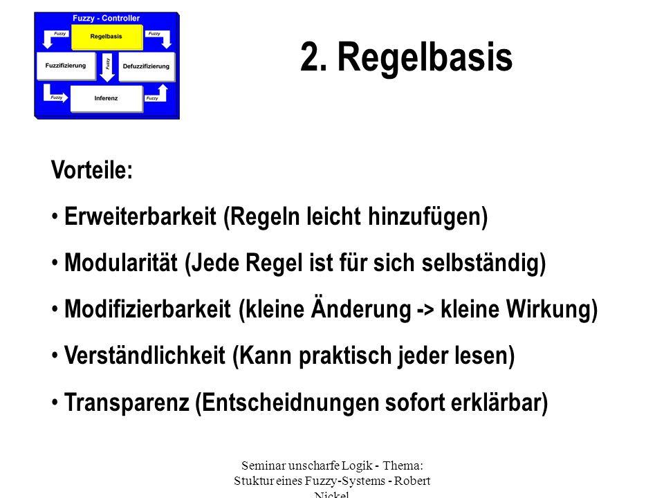 Seminar unscharfe Logik - Thema: Stuktur eines Fuzzy-Systems - Robert Nickel 2. Regelbasis Vorteile: Erweiterbarkeit (Regeln leicht hinzufügen) Modula