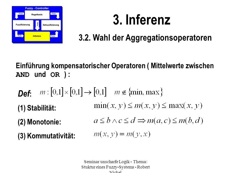 Seminar unscharfe Logik - Thema: Stuktur eines Fuzzy-Systems - Robert Nickel 3. Inferenz 3.2. Wahl der Aggregationsoperatoren Einführung kompensatoris