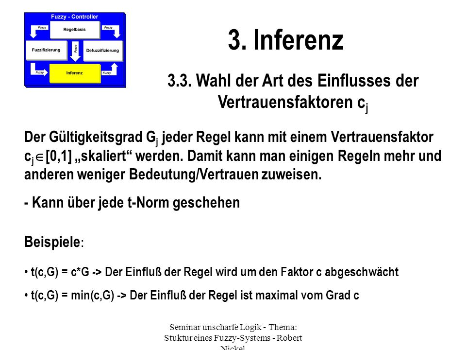 Seminar unscharfe Logik - Thema: Stuktur eines Fuzzy-Systems - Robert Nickel 3. Inferenz 3.3. Wahl der Art des Einflusses der Vertrauensfaktoren c j D