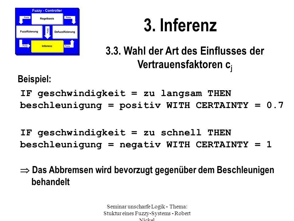 Seminar unscharfe Logik - Thema: Stuktur eines Fuzzy-Systems - Robert Nickel 3. Inferenz 3.3. Wahl der Art des Einflusses der Vertrauensfaktoren c j B