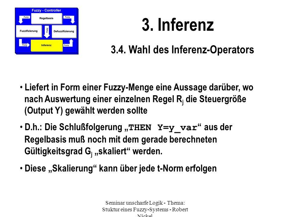 Seminar unscharfe Logik - Thema: Stuktur eines Fuzzy-Systems - Robert Nickel 3. Inferenz 3.4. Wahl des Inferenz-Operators Liefert in Form einer Fuzzy-