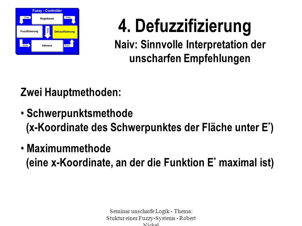 4. Defuzzifizierung Zwei Hauptmethoden: Schwerpunktsmethode (x-Koordinate des Schwerpunktes der Fläche unter E * ) Maximummethode (eine x-Koordinate,