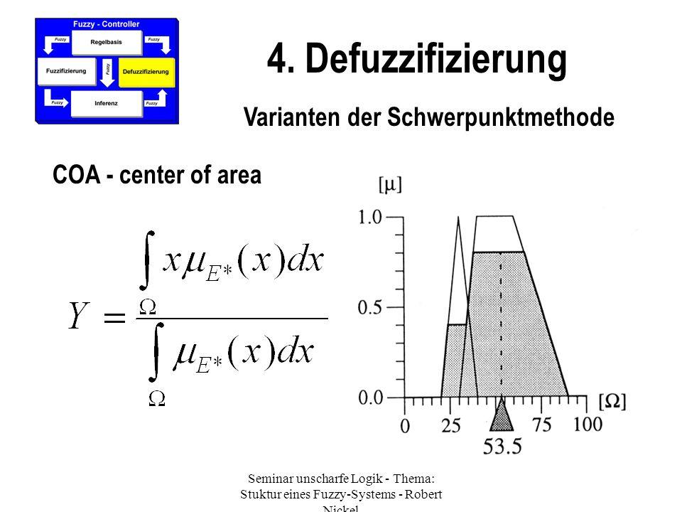 Seminar unscharfe Logik - Thema: Stuktur eines Fuzzy-Systems - Robert Nickel 4. Defuzzifizierung Varianten der Schwerpunktmethode COA - center of area