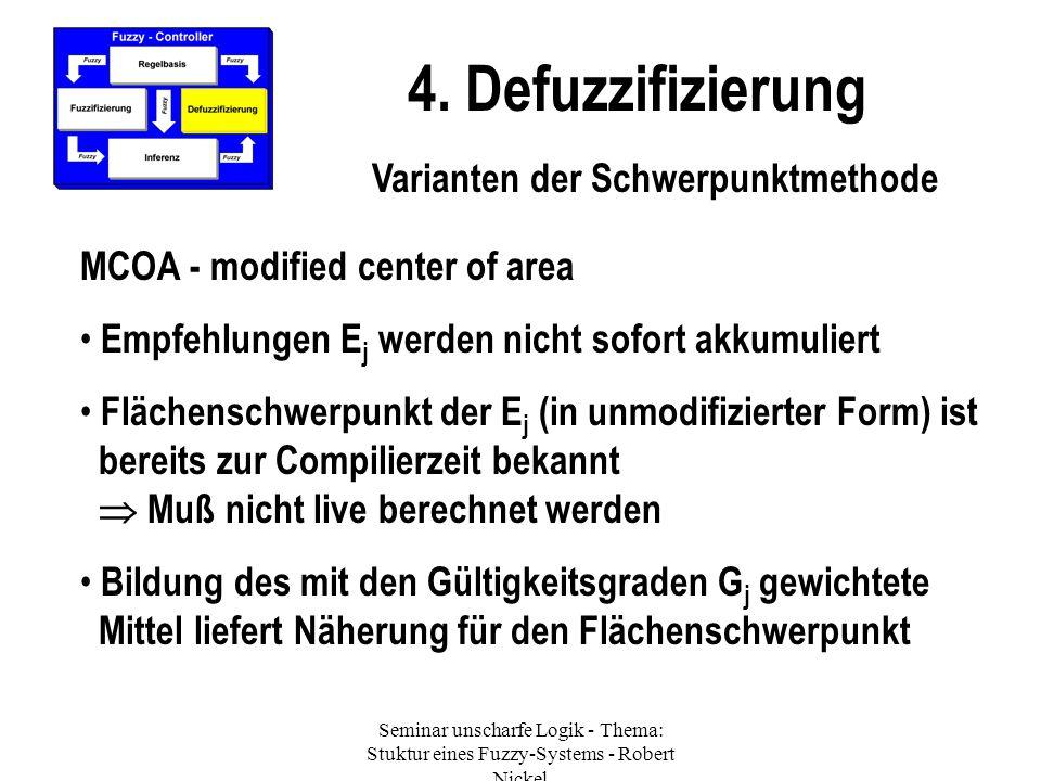 Seminar unscharfe Logik - Thema: Stuktur eines Fuzzy-Systems - Robert Nickel 4. Defuzzifizierung Varianten der Schwerpunktmethode MCOA - modified cent