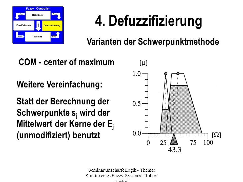 Seminar unscharfe Logik - Thema: Stuktur eines Fuzzy-Systems - Robert Nickel 4. Defuzzifizierung Varianten der Schwerpunktmethode COM - center of maxi