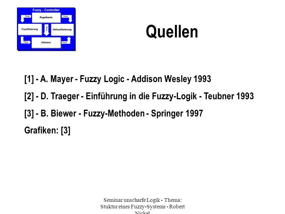 Seminar unscharfe Logik - Thema: Stuktur eines Fuzzy-Systems - Robert Nickel Quellen [1] - A. Mayer - Fuzzy Logic - Addison Wesley 1993 [2] - D. Traeg