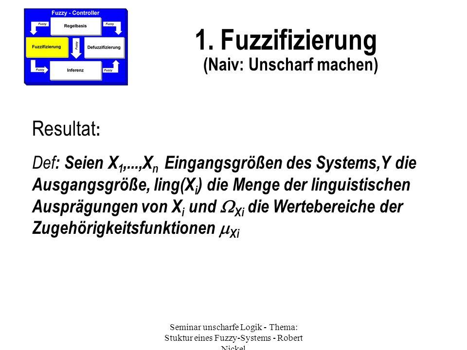 Seminar unscharfe Logik - Thema: Stuktur eines Fuzzy-Systems - Robert Nickel 1. Fuzzifizierung (Naiv: Unscharf machen) Resultat : Def : Seien X 1,...,