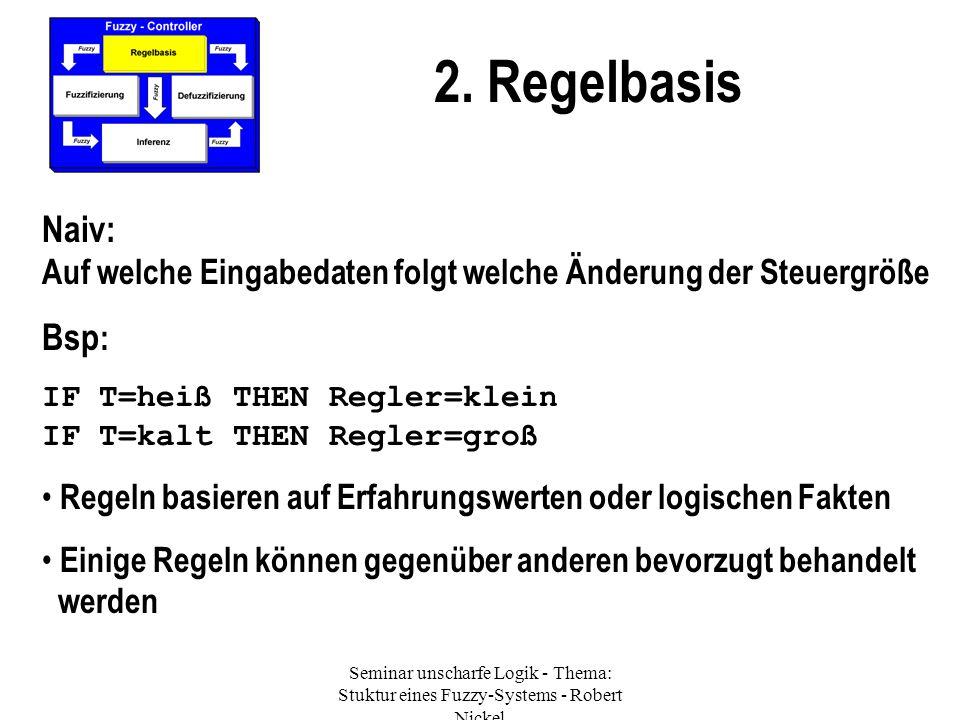 2. Regelbasis Naiv: Auf welche Eingabedaten folgt welche Änderung der Steuergröße Bsp : IF T=heiß THEN Regler=klein IF T=kalt THEN Regler=groß Regeln