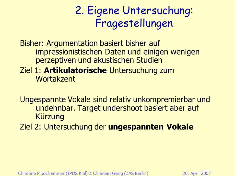 Christine Mooshammer (IPDS Kiel)& Christian Geng (ZAS Berlin)20. April 2007 1. Vokalreduktion: phonologisch 1.Flemming (2004, submitted) 2.Crosswhite