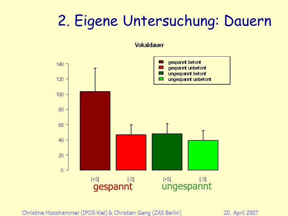 Christine Mooshammer (IPDS Kiel)& Christian Geng (ZAS Berlin)20. April 2007 2. Eigene Untersuchung: Experiment EMMA Studie 4 Sensoren auf der Zunge +