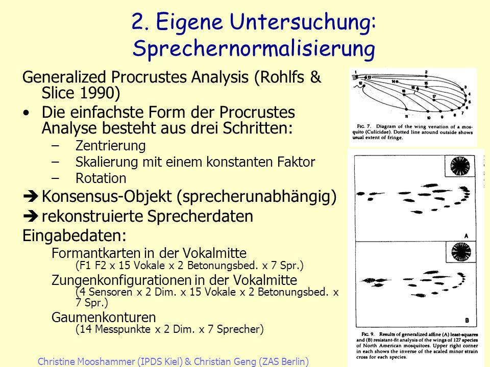 Christine Mooshammer (IPDS Kiel)& Christian Geng (ZAS Berlin)20. April 2007 2. Eigene Untersuchung: Sprecherspezifische Unterschiede Zungenpositionen