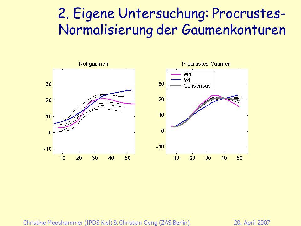 Christine Mooshammer (IPDS Kiel)& Christian Geng (ZAS Berlin)20. April 2007 2. Eigene Untersuchung: Sprechernormalisierung Generalized Procrustes Anal