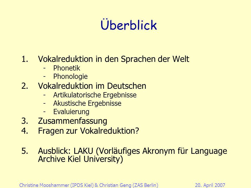 Christine Mooshammer (IPDS Kiel)& Christian Geng (ZAS Berlin)20. April 2007 Vokalreduktion im Deutschen Christine Mooshammer Institut für Phonetik und