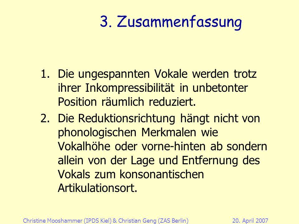 Christine Mooshammer (IPDS Kiel)& Christian Geng (ZAS Berlin)20. April 2007 2. Eigene Untersuchung: Evaluierung der Methode Scatter reduction –Lobanov
