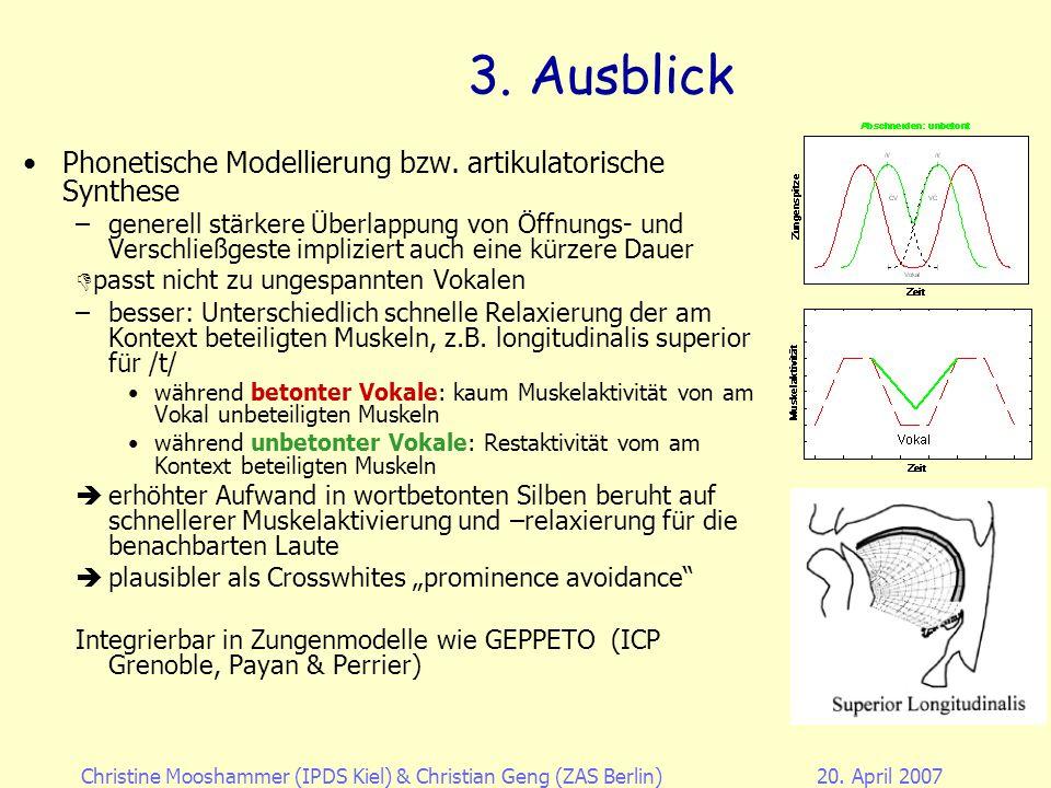 Christine Mooshammer (IPDS Kiel)& Christian Geng (ZAS Berlin)20. April 2007 3. Zusammenfassung 1.Die ungespannten Vokale werden trotz ihrer Inkompress