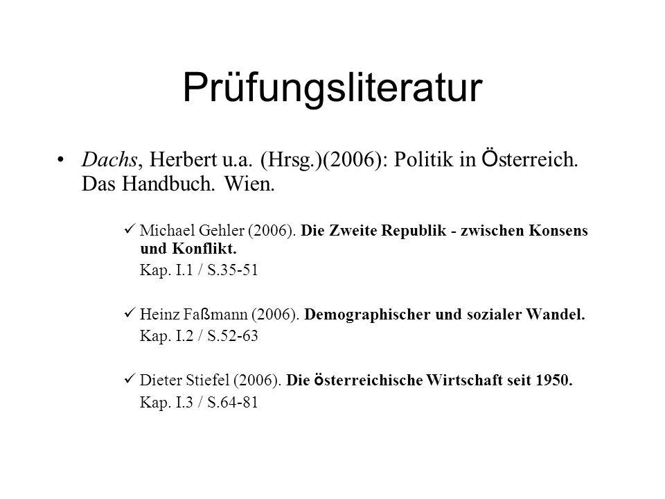 Prüfungsliteratur Dachs, Herbert u.a. (Hrsg.)(2006): Politik in Ö sterreich. Das Handbuch. Wien. Michael Gehler (2006). Die Zweite Republik - zwischen