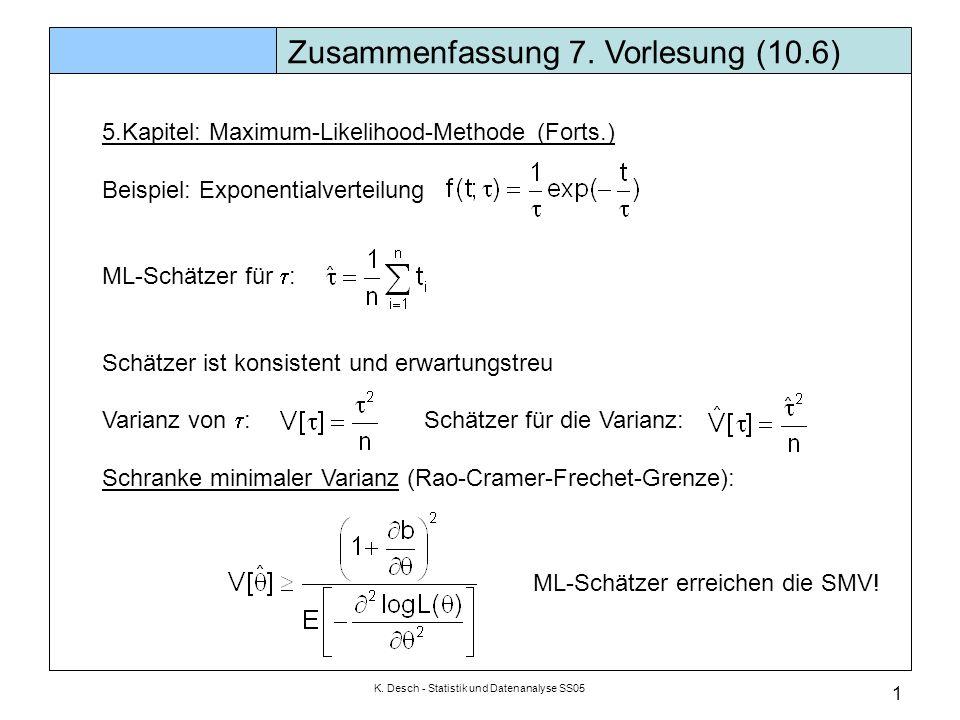 K. Desch - Statistik und Datenanalyse SS05 1 Zusammenfassung 7. Vorlesung (10.6) 5.Kapitel: Maximum-Likelihood-Methode (Forts.) Beispiel: Exponentialv