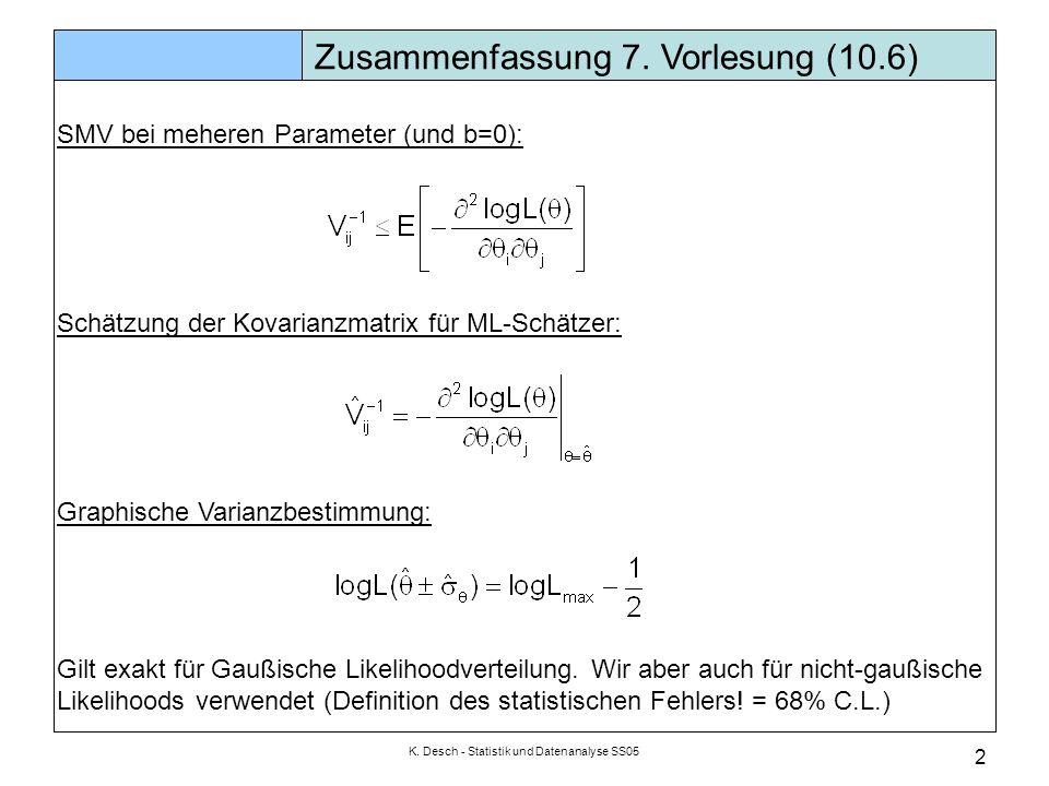 K. Desch - Statistik und Datenanalyse SS05 2 Zusammenfassung 7. Vorlesung (10.6) SMV bei meheren Parameter (und b=0): Schätzung der Kovarianzmatrix fü