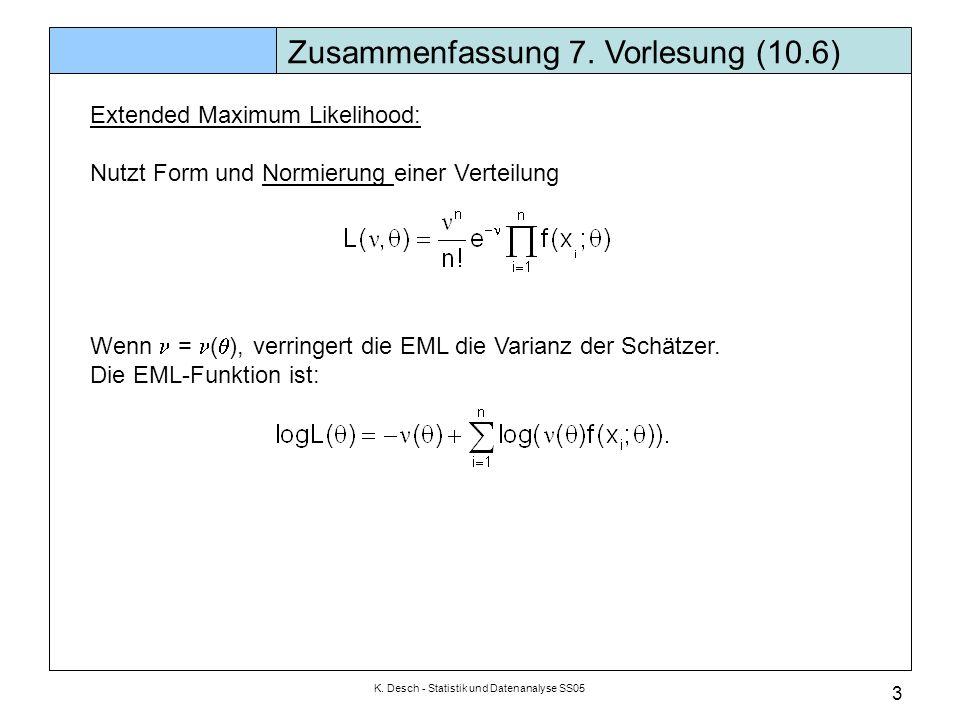 K. Desch - Statistik und Datenanalyse SS05 3 Zusammenfassung 7. Vorlesung (10.6) Extended Maximum Likelihood: Nutzt Form und Normierung einer Verteilu