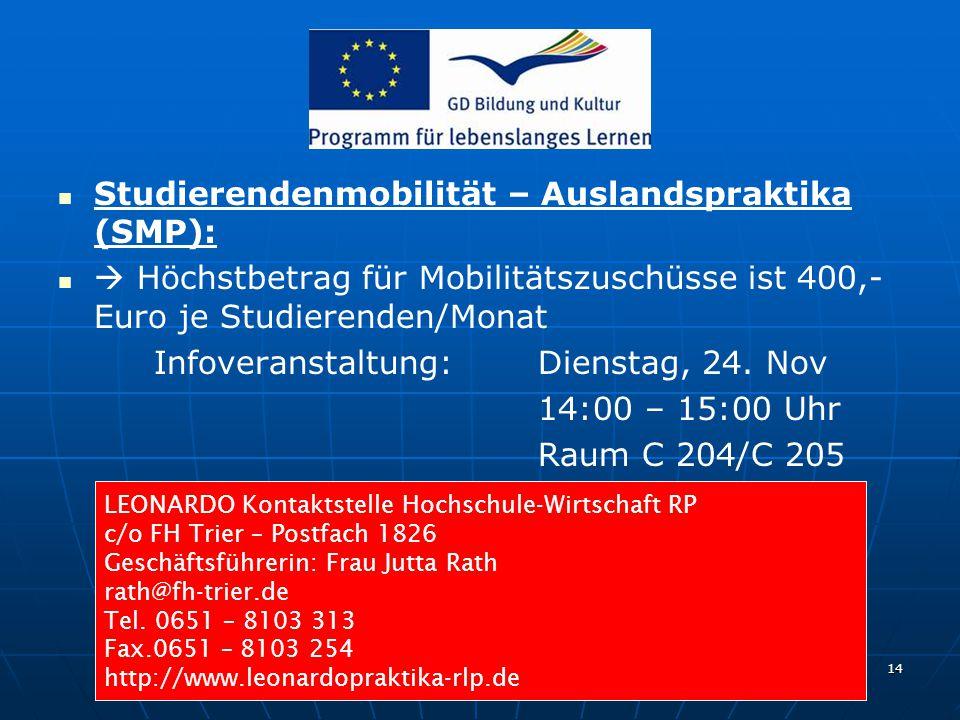 Joachim Mayer, MBA - EUROPA - INSTITUT - 24.11.2009 14 Studierendenmobilität – Auslandspraktika (SMP):  Höchstbetrag für Mobilitätszuschüsse ist 400,- Euro je Studierenden/Monat Infoveranstaltung: Dienstag, 24.