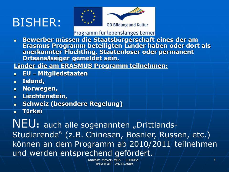 Joachim Mayer, MBA - EUROPA - INSTITUT - 24.11.2009 18 USA VISUM VISUM F-1 Visum (ohne Gewähr)F-1 Visum (ohne Gewähr) Einreise max.